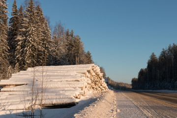 Snow-covered road on a winter day. Travel north Russia. Snow-covered road. Logging roads. The logs covered with snow on the roadside. Frosty sunny day.
