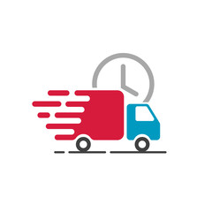Delivery truck icon vector isolated on white background, flat line cargo van moving fast, idea of fast shipping service label