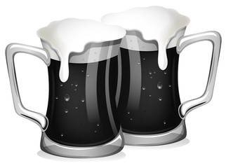 Two glasses of fresh beer in grayscale