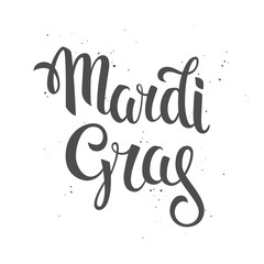 Mardi gras logo. Hand drawn lettering on a grunge white background.