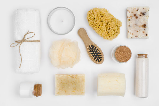 Different personal hygiene objects isolated on white background, top view