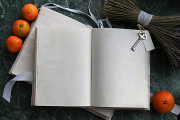 pages opened vintage book on green marble countertop