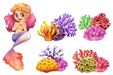 Cute mermaid and colorful coral reef