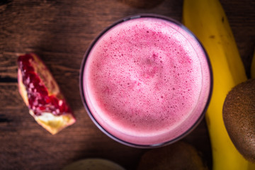 Fresh pomegranate smoothie. Top view