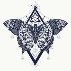Butterfly tattoo art, celtic style. Mystical symbol of freedom