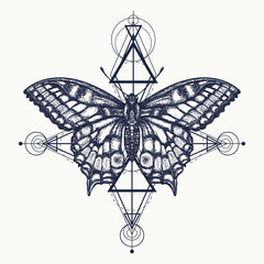 Butterfly tattoo, geometrical style. Beautiful Swallowtail boho