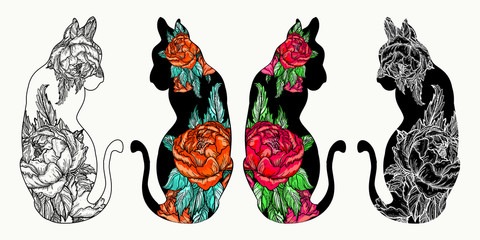 Cats tattoo art and t-shirt design. Rose flowers in a   cats