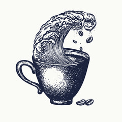 Storm in a cup of coffee tattoo and t-shirt design