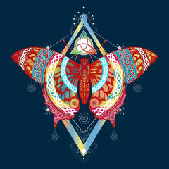 Butterfly t-shirt design. Symbol of freedom, travel
