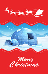 Christmas theme with igloo and reindeers