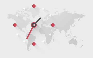 clock on the world map