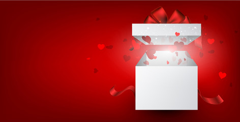 Fototapete - Red valentine's background with gift and hearts.