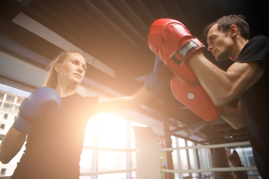Young sportsmens compete in boxing