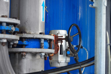Close-up of a butterfly valve with servo on a water treatment pl