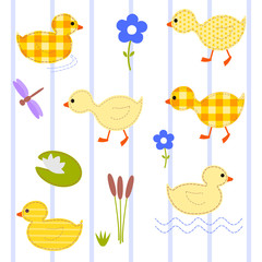 set ducklings, vector