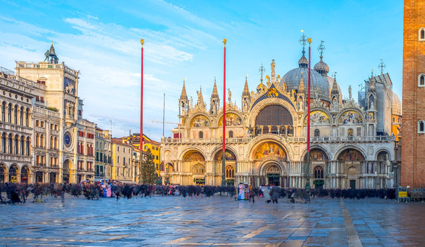 San Marco square with Campanile and San Marco's Basilica. The main square of the old town. Venice, Veneto Italy.