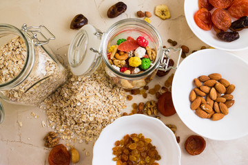 Nuts and fruits for diet and healthy eating
