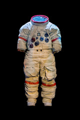 empty suit of an astronaut on a black background