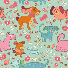 Seamless vector pattern of doodle dogs