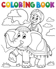 Coloring book man travelling on elephant