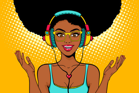 Young sexy african american black woman with open smile in headphones listening to the music and spreading her hands. Vector bright background in pop art retro comic style. Party invitation poster.