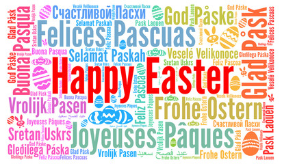 Happy Easter in different languages word cloud