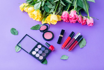 rose flowers and makeup cosmetics