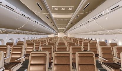 Innenausstattung eines Großraumflugzeugs in der Touristenklasse