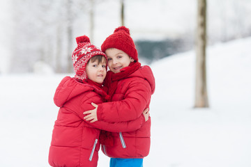 Two adorable children, boy brothers, playing in a snowy park