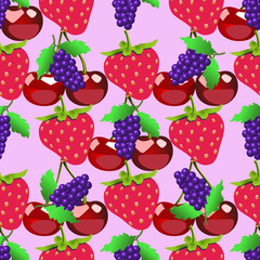 Berries pattern. Fruits sketch of fresh raspberry and cherry