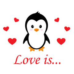 cartoon cute penguin with heart vector and text
