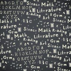 Seamless chalkboard school pattern with text elements