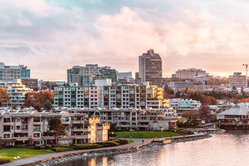 Autumn Sunset at False Creek in Vancouver, Canada