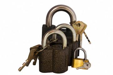 Four locks with keys