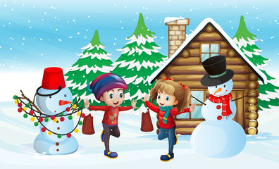 Two kids and snowman in front of cabin house