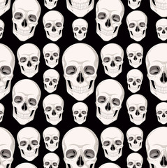 Seamless background with human skull