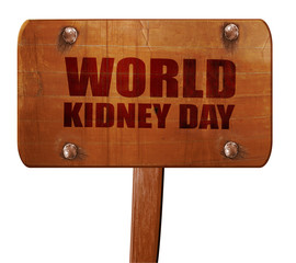 world kidney day, 3D rendering, text on wooden sign