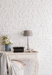 modern decoration with white brick background