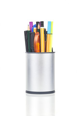 Pen Holder With Different Pens And Markers