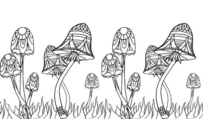 Seamless border with mushrooms with boho pattern. Doodle pattern. Vector element for your creativity