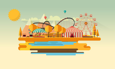 Amusement park at autumn daytime flat illustration