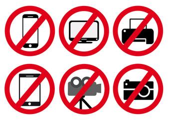 Schildersammlung Handy Tablet TV Drucker Kamera Fotoapparat