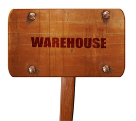 warehouse, 3D rendering, text on wooden sign