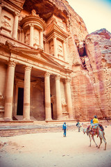 Al Khazneh - treasury, ancient city of Petra, Jordan. Wadi Rum