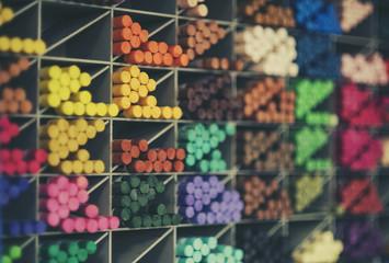 color chalk in a big box