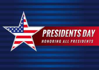 Presidents day USA star banner. Happy Presidents vector background template with star in national flag colors