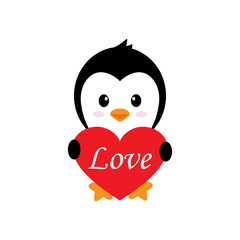 cartoon cute penguin with heart and text