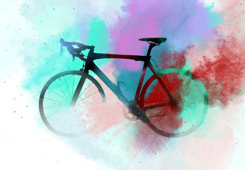 Bicycle combined with an abstract watercolour
