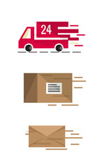 Fast shipping delivery.  flat icons vector illustration