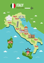 Italy travel map, Italian Colosseum, Milan, Venice. flat vector illustration